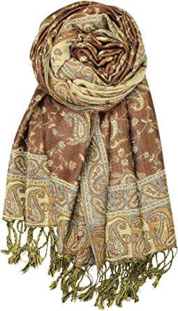 Pashmina Shawl Scarf Wrap Luxurious Elegant Holiday Paisley Flower Soft Warm