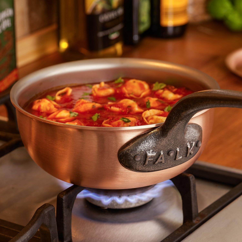Falk culinair 18 cm cobre Saucier hierro fundido con asa y interior ...
