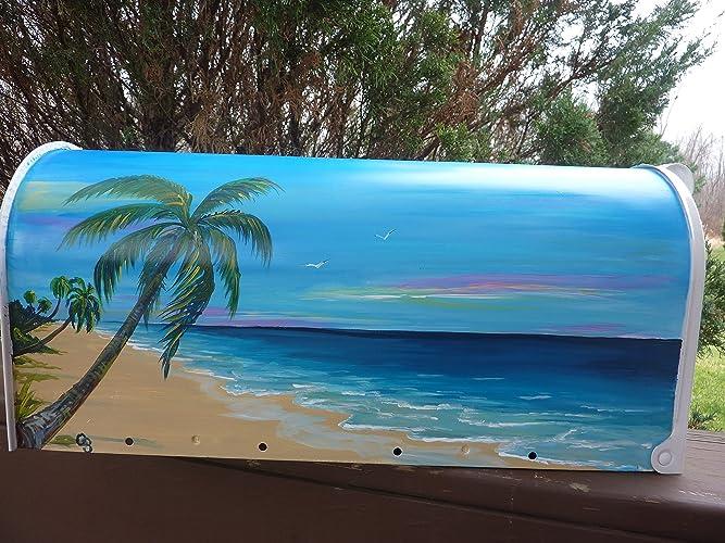 Rural White Metal Mailbox Hand Painted Design Tropical Beach