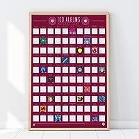 Gift Republic 100 Albums Scratch Off Bucket List Poster