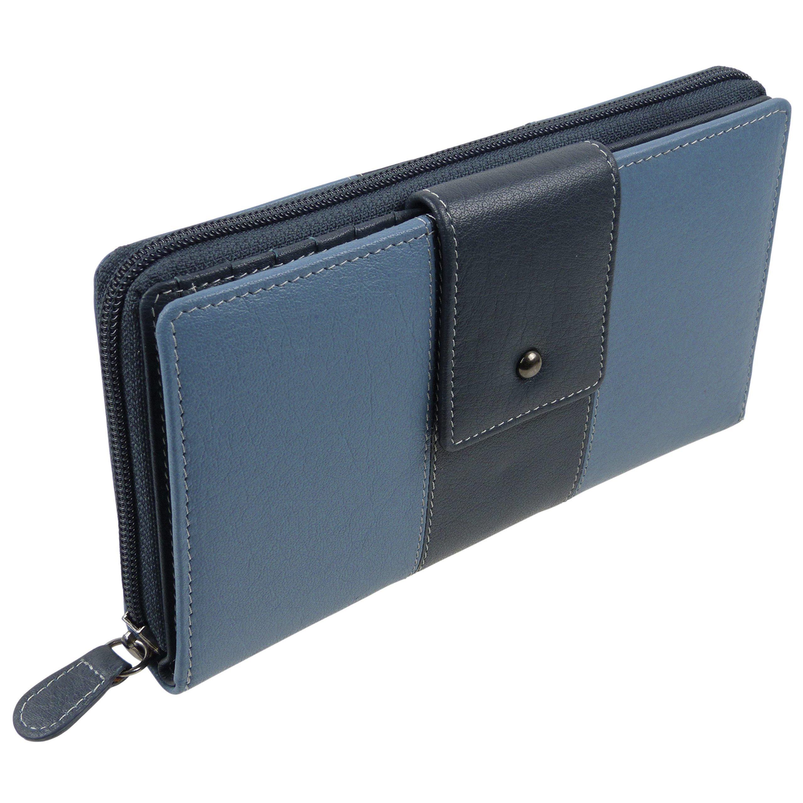 Golunski Women's Tab Purse Wallet Top Leather By Onesize Blue & Navy