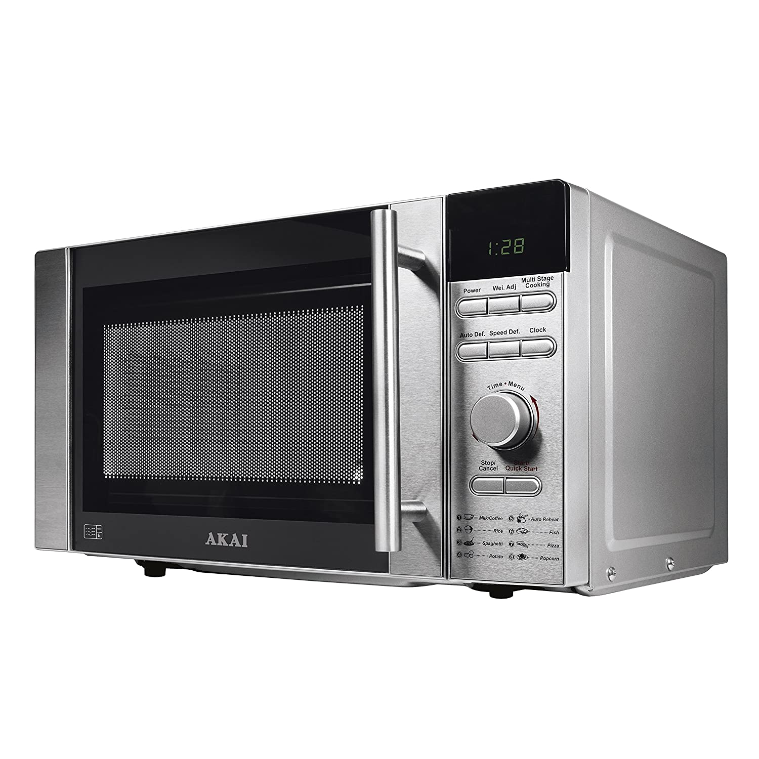 Akai A24003 Digital Solo Microwave with 6 Power Levels, 800 W, 20 Litre, Stainless Steel