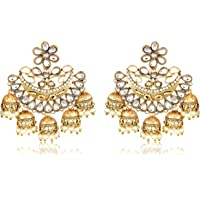Meenaz Gold Plated Chandbali White Pearl Kundan Jhumka Jhumki Earrings For Girls & Women - 193
