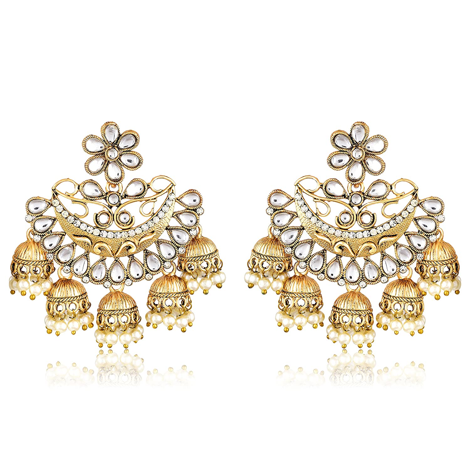 Buy Meenaz Fashion Jewelry Traditional Gold plated Pearl Crystal ...
