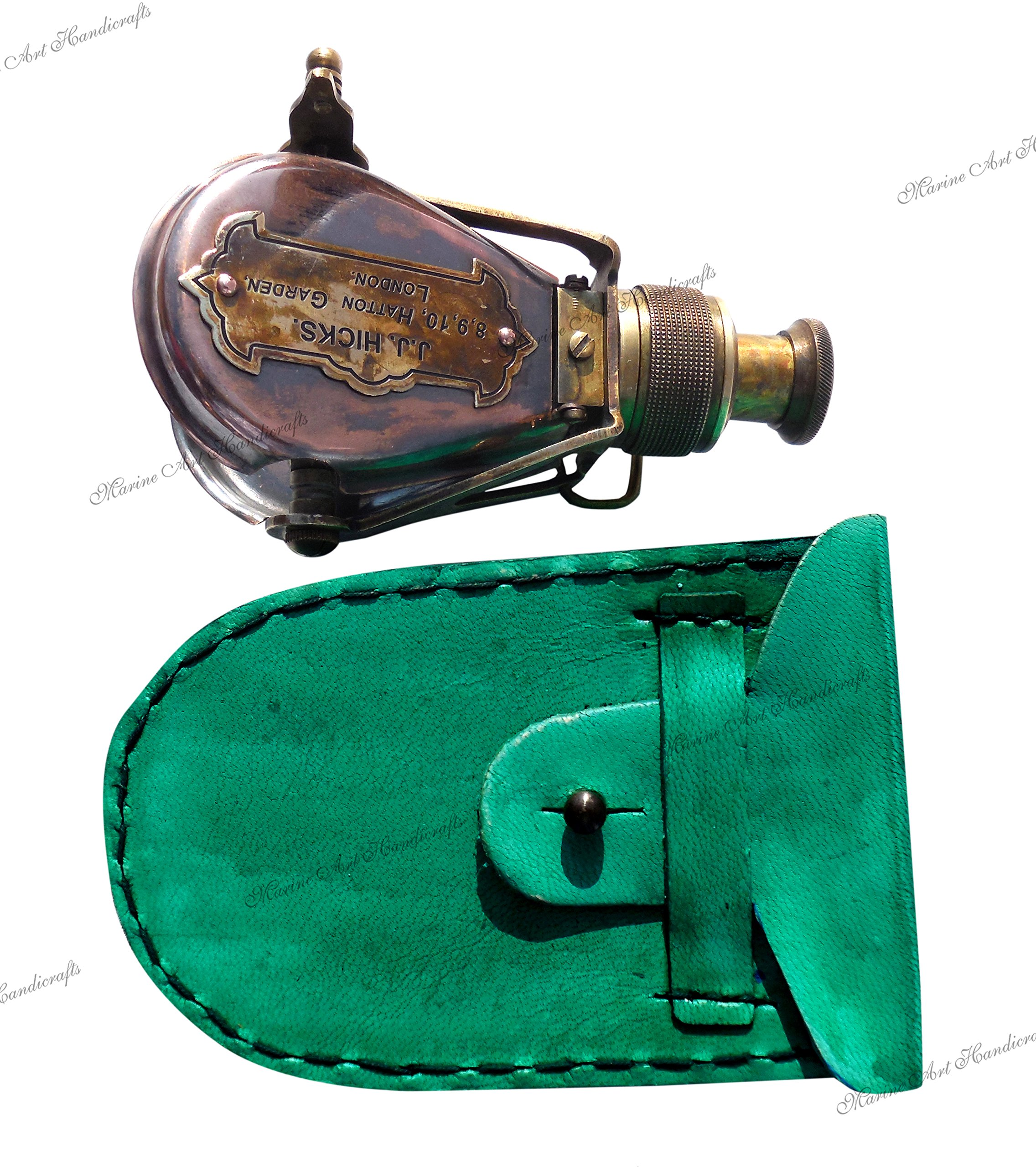 MAH Antique-Style-Ships Pocket-Monocular-Brass Telescope-with-Leather-Box. C-3232 by MAH