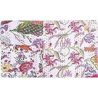 Sophia Art Indian King/Queen Size Kantha Quilt, Bohemian Bedding Kantha, Patchwork Kantha Rallies, Reversible Blanket/Bedspread Quilt (Multi)
