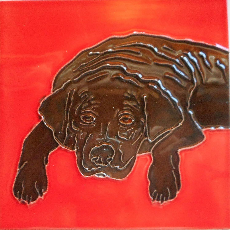 Black lab Ceramic Art Tile 6 x 6 inches Easel Back
