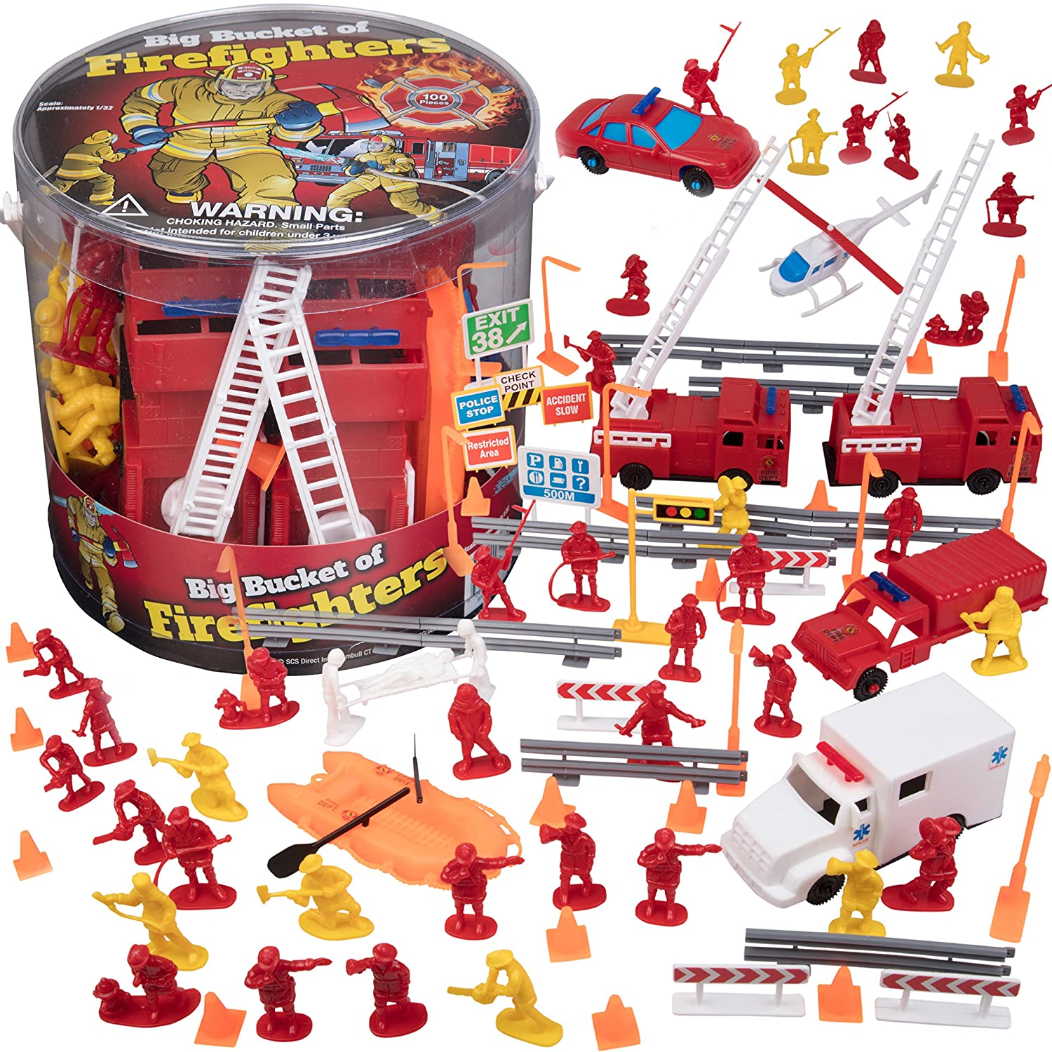 SCS Direct Firemen Action Figures - Big Bucket of Firefighters - Huge 100 Piece Set