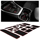 Custom Fit Cup, Door, and Console Liner Accessories for Toyota Rav4 2019 2020 (Red Trim)