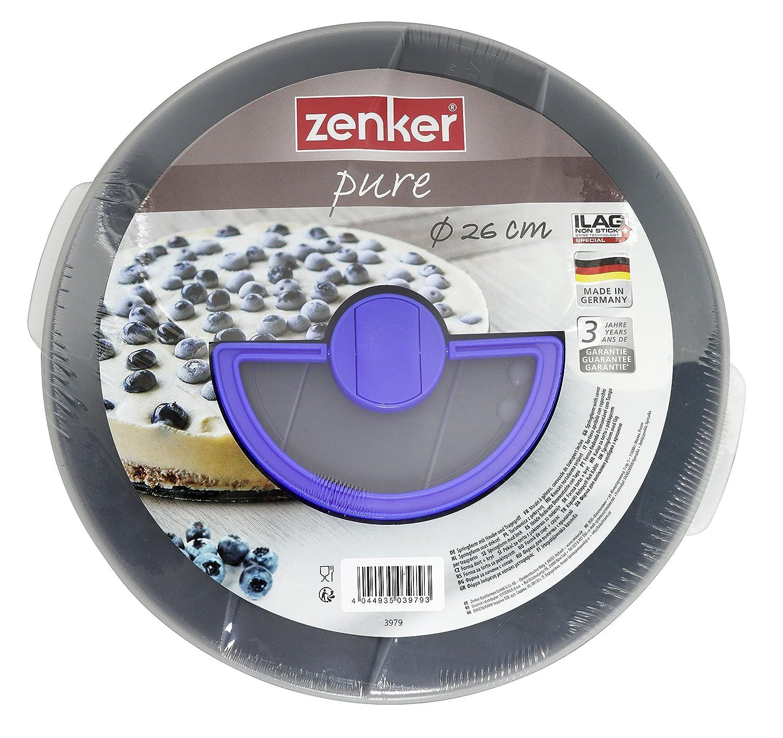 Zenker Springform  26 cm mit Deckel aus der Serie Pure to go Backform Menge: 1 St/ück Backform mit Antihaftbeschichtung runde Kuchenform mit Flachboden Farbe: schwarz