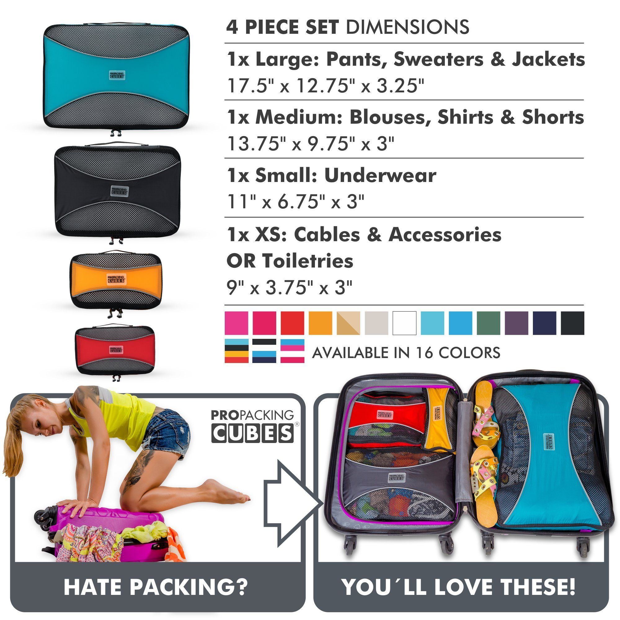 PRO Packing Cubes  Lightweight Travel - Packing for Carry-on Luggage, Suitcase and Backpacking Accessories Set, Mixed Colors - 4 Piece by Pro Packing Cubes (Image #8)