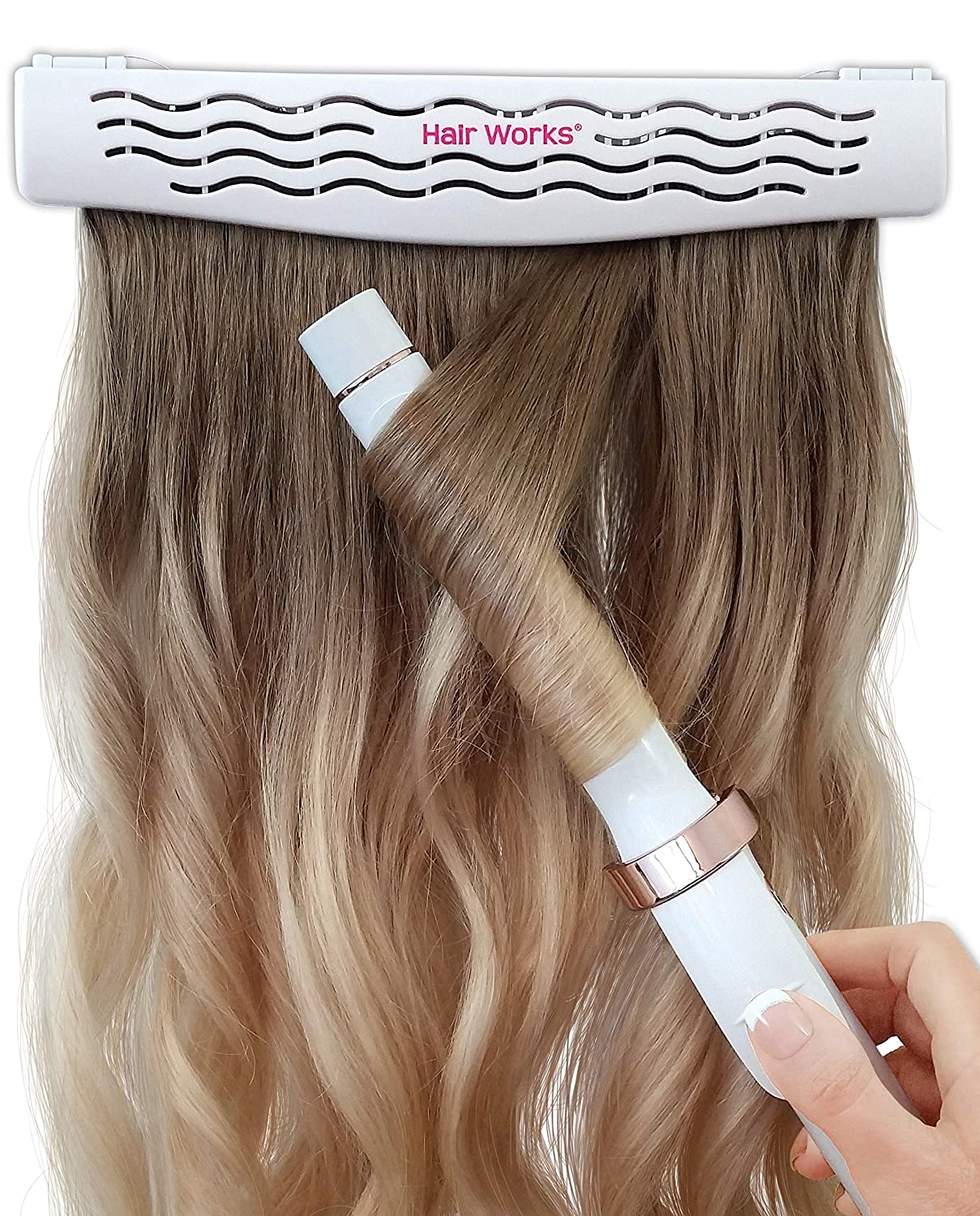 Hair Works 4-in-1 Hair Extension Style Caddy - The Original Hair Extension Holder Designed To Securely Hold Your Extensions While You Wash, Style, Pack and Store Them (White)