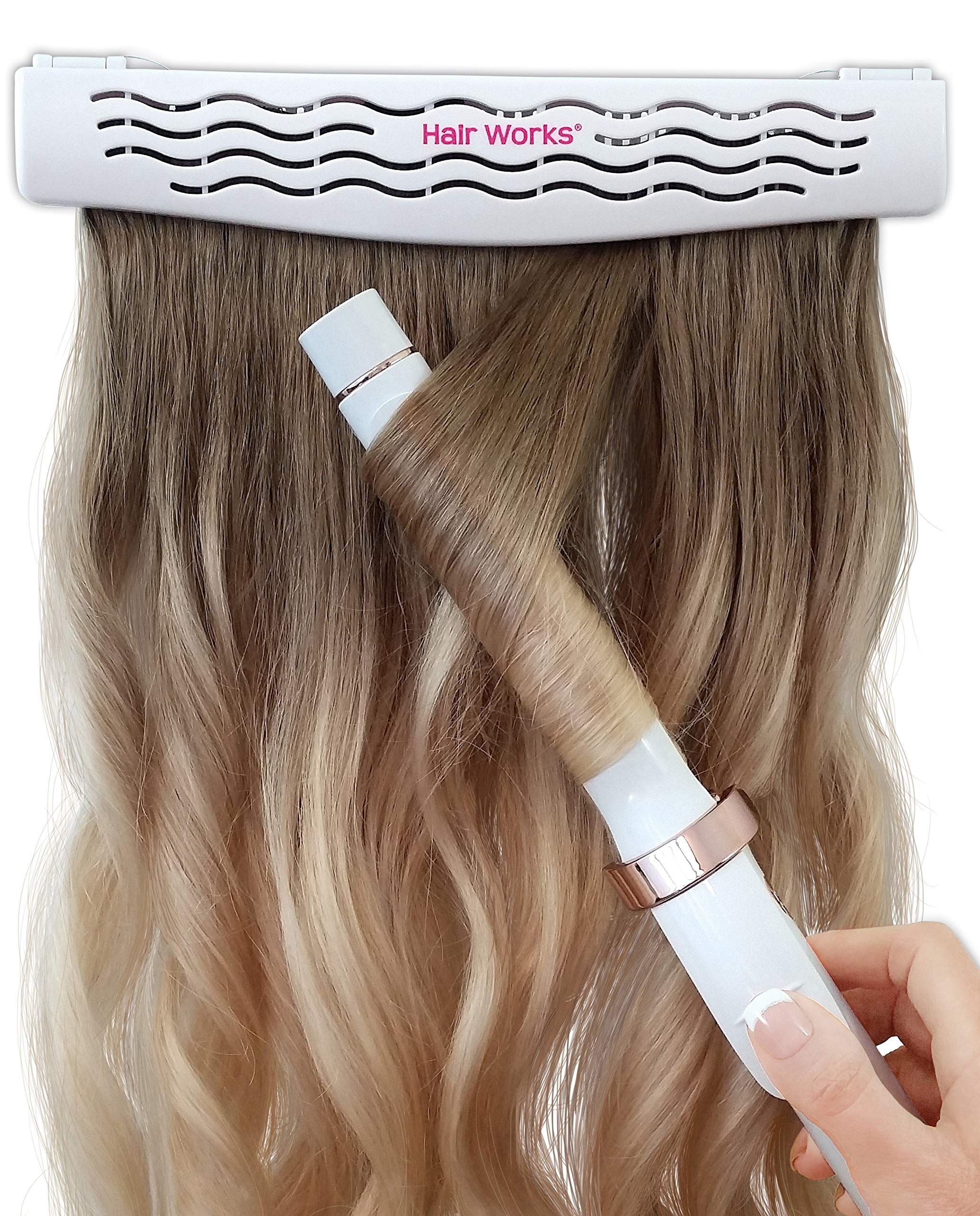 Hair Works 4-in-1 Hair Extension Style Caddy - The Original Hair Extension Holder Designed To Securely Hold Your Extensions While You Wash, Style, Pack and Store Them by Hair Works