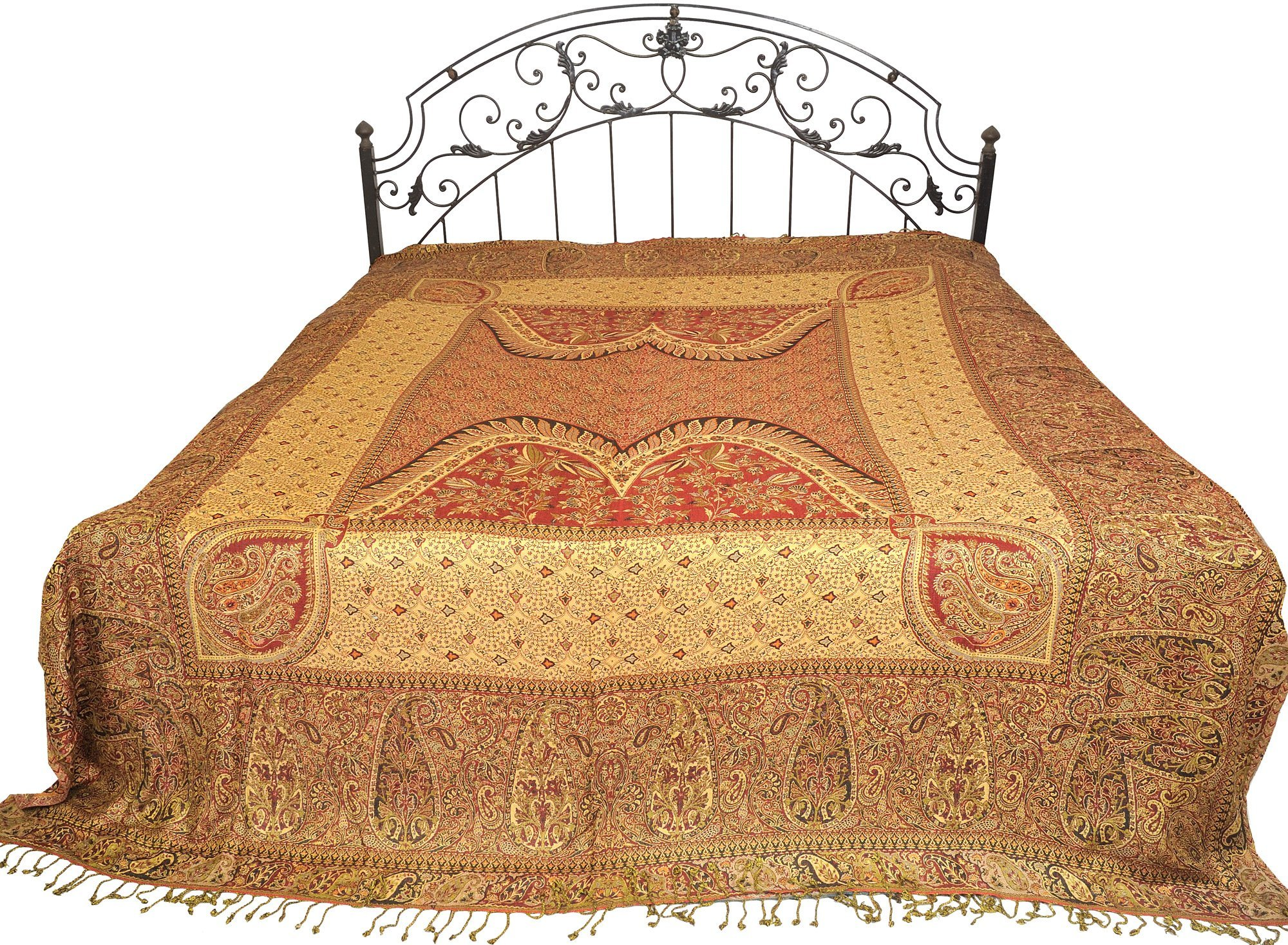 Reversible Jamawar Bedspread with Mughal Design - Viscose - Color Gold And Maroon Color