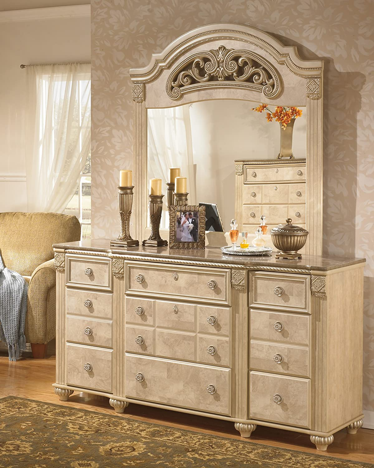 Amazon.com: Old World Light Opulent Finish Saveaha Bedroom Dresser With  Faux Marble Top: Kitchen U0026 Dining