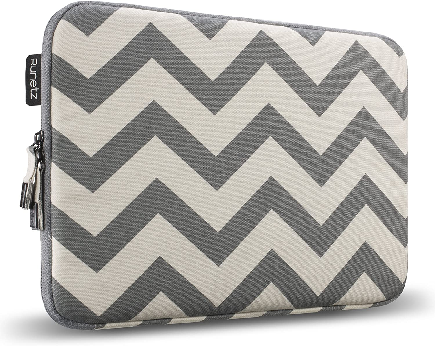 Runetz Sleeve for MacBook Pro 15 inch Sleeve Soft Laptop Sleeve 15 inch Notebook Computer Bag Protective Case Cover with Zipper, Chevron Gray