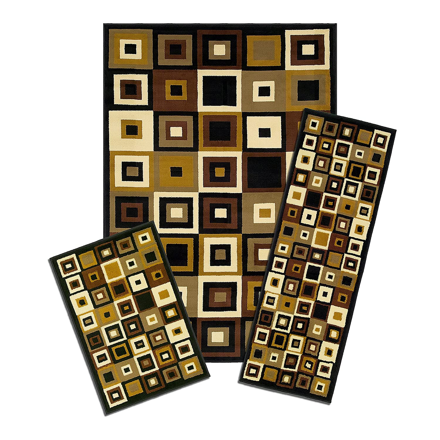 Amazoncom Achim Home Furnishings Capri Piece Rug Set - 3 piece bathroom rug sets for bathroom decor ideas