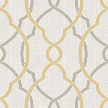Nuwallpaper Nu1695 Sausalito Taupe Yellow Peel Stick Wallpaper Amazon Com
