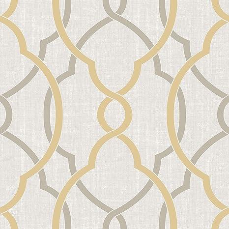 Nuwallpaper Nu1695 Sausalito Taupe Yellow Peel Stick Wallpaper