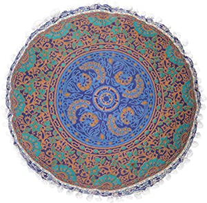 Popular Handicrafts Hippie Mandala Floor Pillow Cover - Cushion Cover - Pouf Cover Round Bohemian Yoga Decor Floor Cushion Case- 18