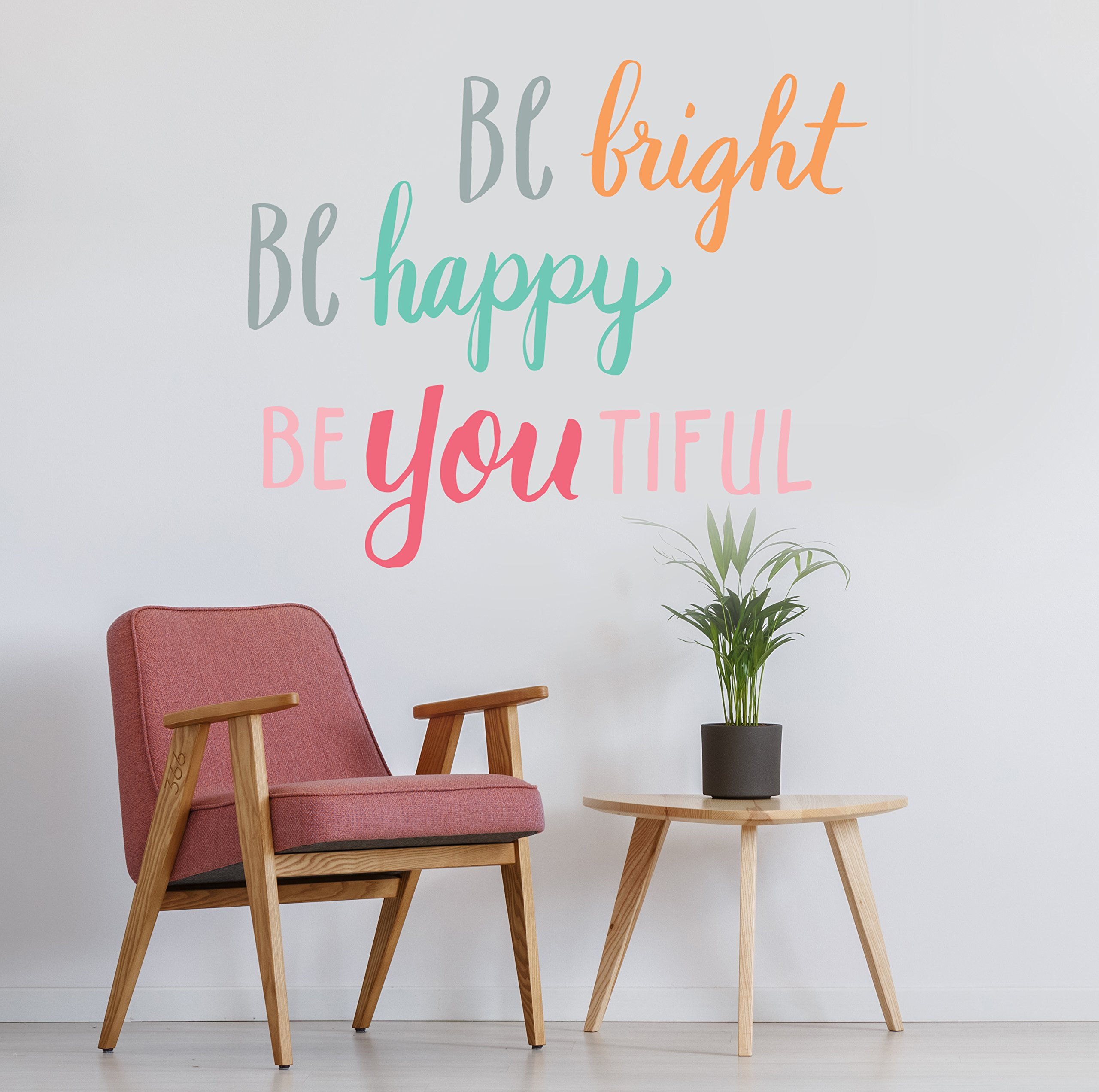 Wall Decals Colorful Quote Stickers for Room Decor | Easy to Peel and Stick + Safe on Painted Walls - Playbook of 10 Vinyl Sheets - Be Bright, Be Happy, Be You. DIY Decoration | By Paper Riot Co.