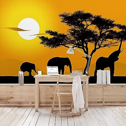 Non woven Wallpaper African Elephant Walk Mural Wide wallpaper