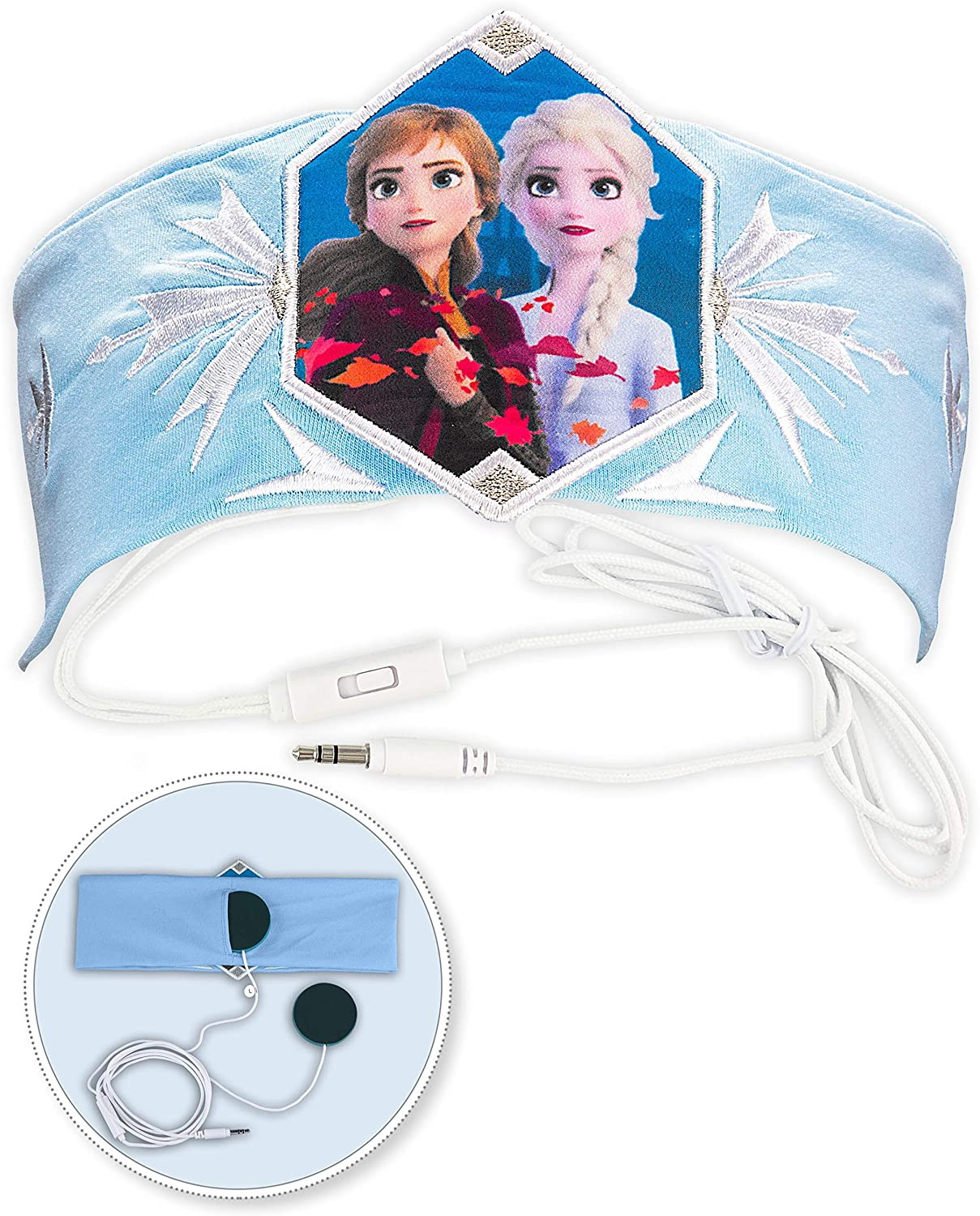 Kids Headband Headphones Volume Limiting Switch Thin Speakers & Comfortable Soft Cotton Headband Perfect for Children's Earphones for School Home and Travel (Frozen 2 (Frustration Free Packaging))