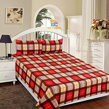 RD TREND Polo Fleece Warm BEDSHEET for Double Bed with 2 Pillow Cover(90