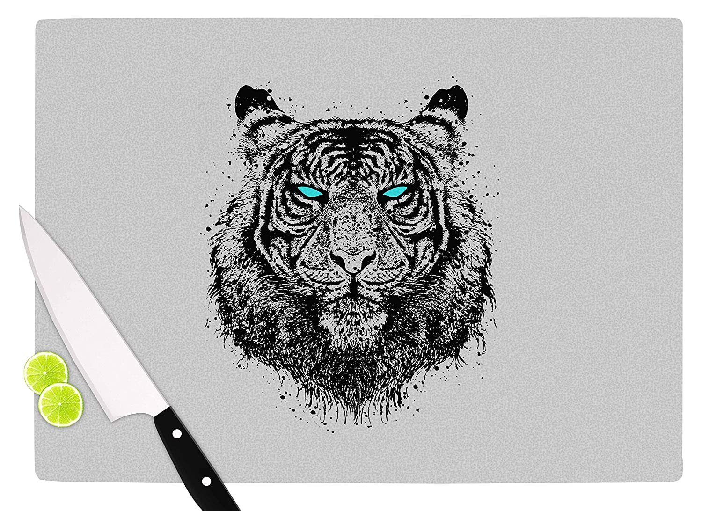 Multicolor KESS InHouse RT1016ACB01 BarmalisiRTBTIger Gaze Black Gray Cutting Board 11.5 x 8.25