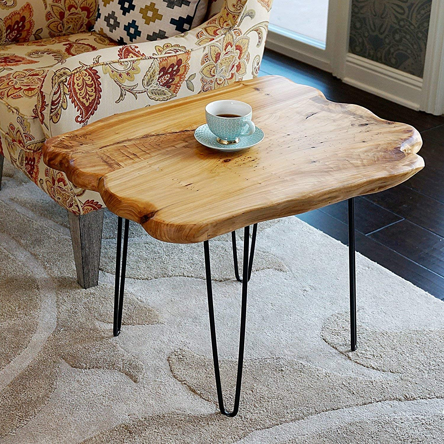 Amazon com welland natural edge coffee table small hairpin coffee table natural wood end table wood slab table 28 l x 20 w x 20 5 t kitchen dining
