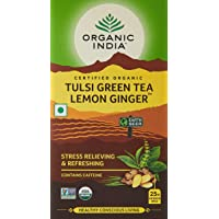 Organic India Tulsi Green Tea, Lemon Ginger, 25 Tea Bags