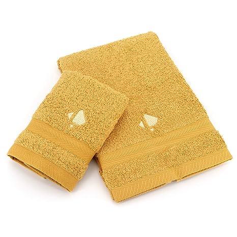 Linnea Juego Royal Cresent Toalla 33 X 33 CM y 40 x 60 cm Bordado Amarillo Cuarzo: Amazon.es: Hogar