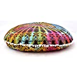"""Handicraftspalace"" Floor Pillow Cover Tie Dye Multicolor Large 32"" Cushion Coevr Outdoor Pillow Case Meditation Ottoman Poufs Cotton Handmade"