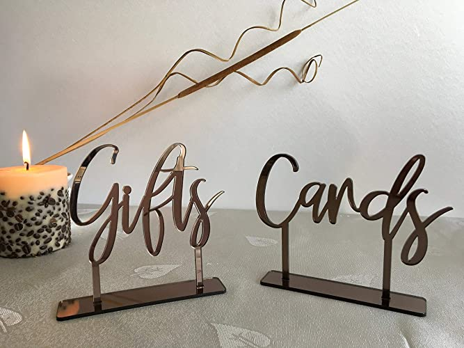wedding signs cards and gifts sign with base acrylic table decorations custom modern font freestanding calligraphy