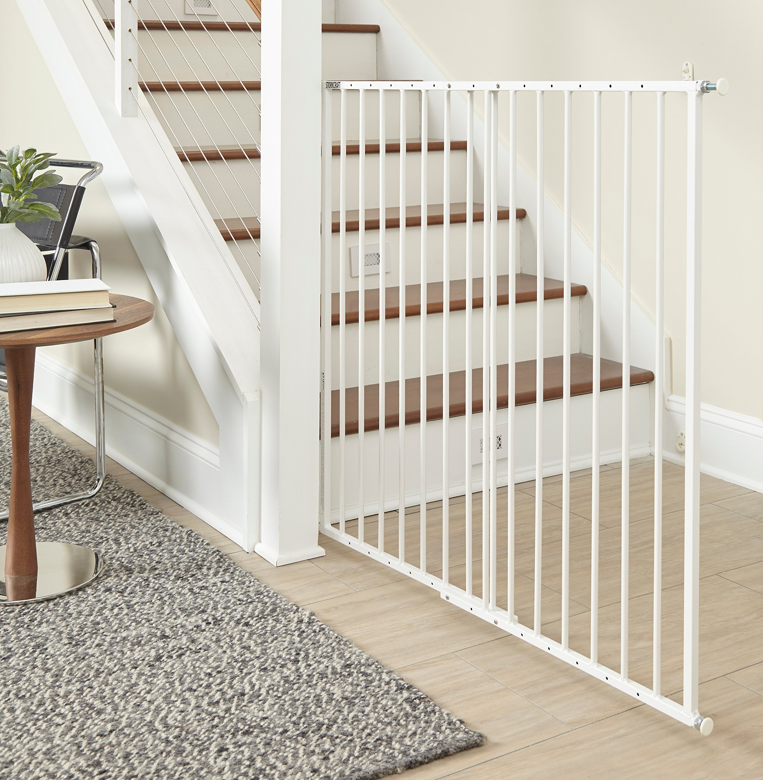 Storkcraft Easy Walk-Thru Tall Metal Safety Gate, White Adjustable Baby Safety Gate For Doorways and Stairs, Great for Children and Pets by Stork Craft (Image #2)