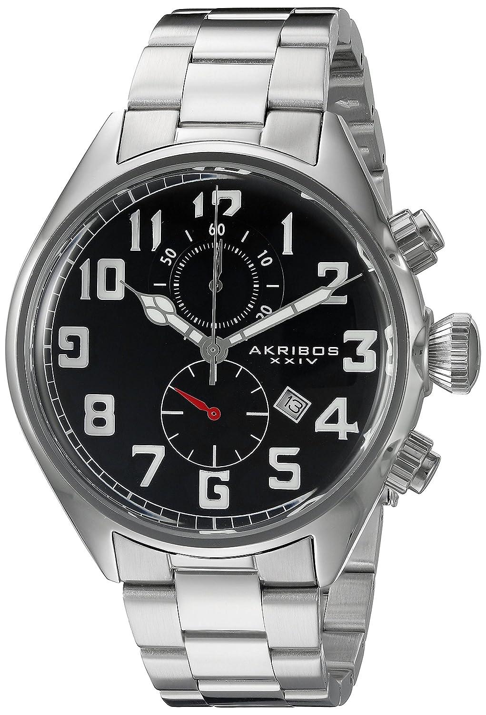 Akribos XXIV Men 's ak853ssbラウンドブラックダイヤルクロノグラフクオーツMovementステンレススチールブレスレット腕時計 B0145FXPNE