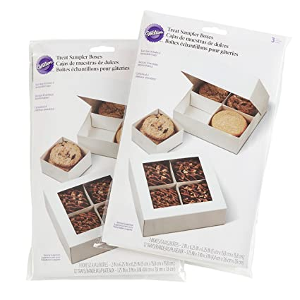 Wilton 3-Count 6.25-Inch White Cookie Gift Boxes with Trays, Multipack of