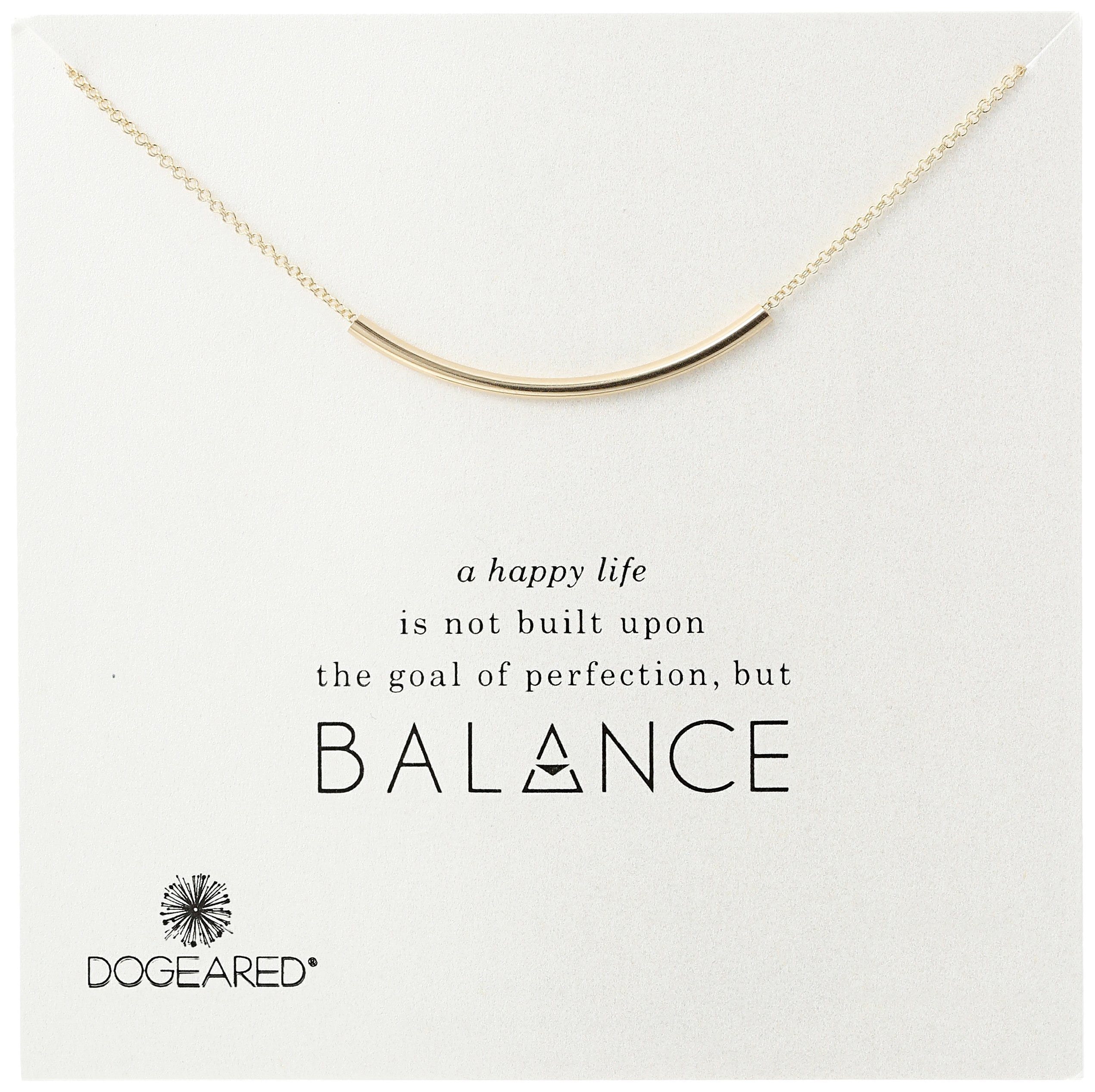 Dogeared Balance Tube Bar Gold Plated Silver Necklace, 16'' with 2'' extender