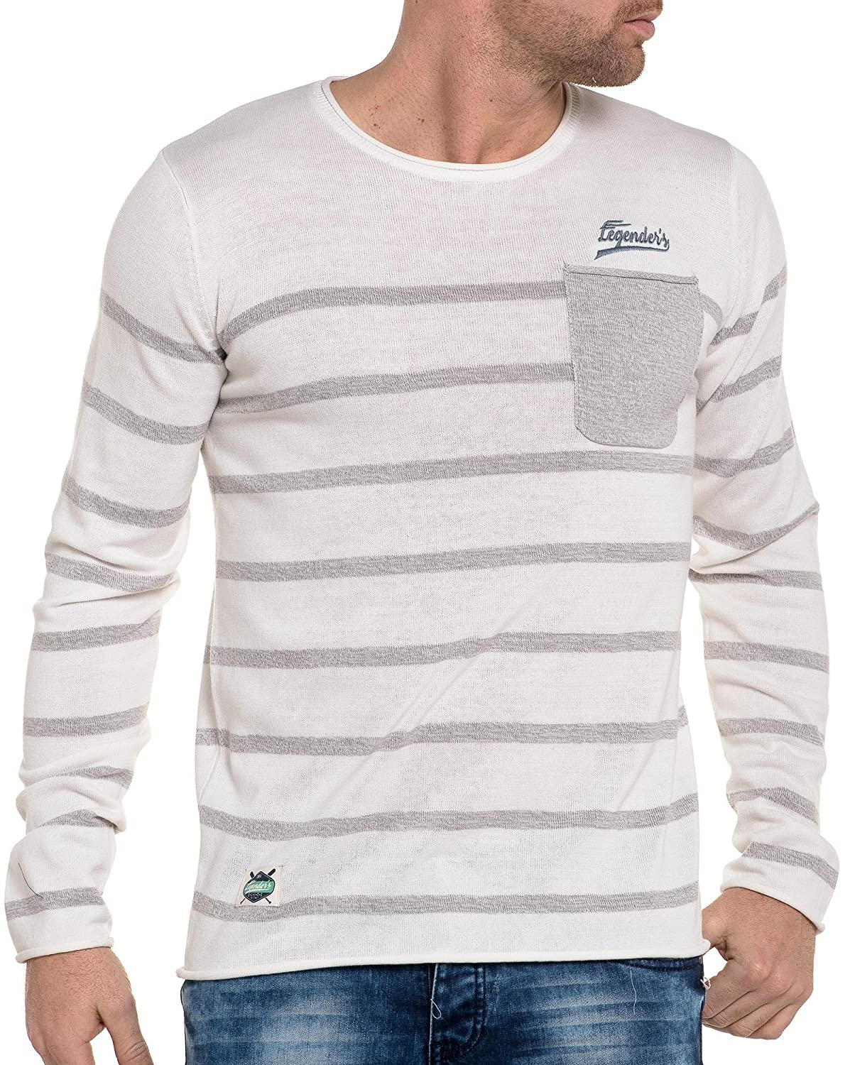 Legenders - white striped gray sweater chest pocket
