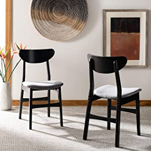 Safavieh Home Lucca Black and Grey Retro (Set of 2) Dining Chair,