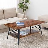 "PrimaSleep 46"" W Solid Wood Top & Steel Legs Cocktail Coffee Sofa Dining Garden Table, Rustic Brown"