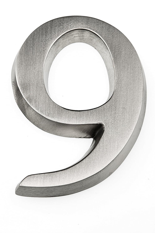 HUBER Aluminio anodizado, 10 cm N/úmero para casa dise/ño Tridimensional