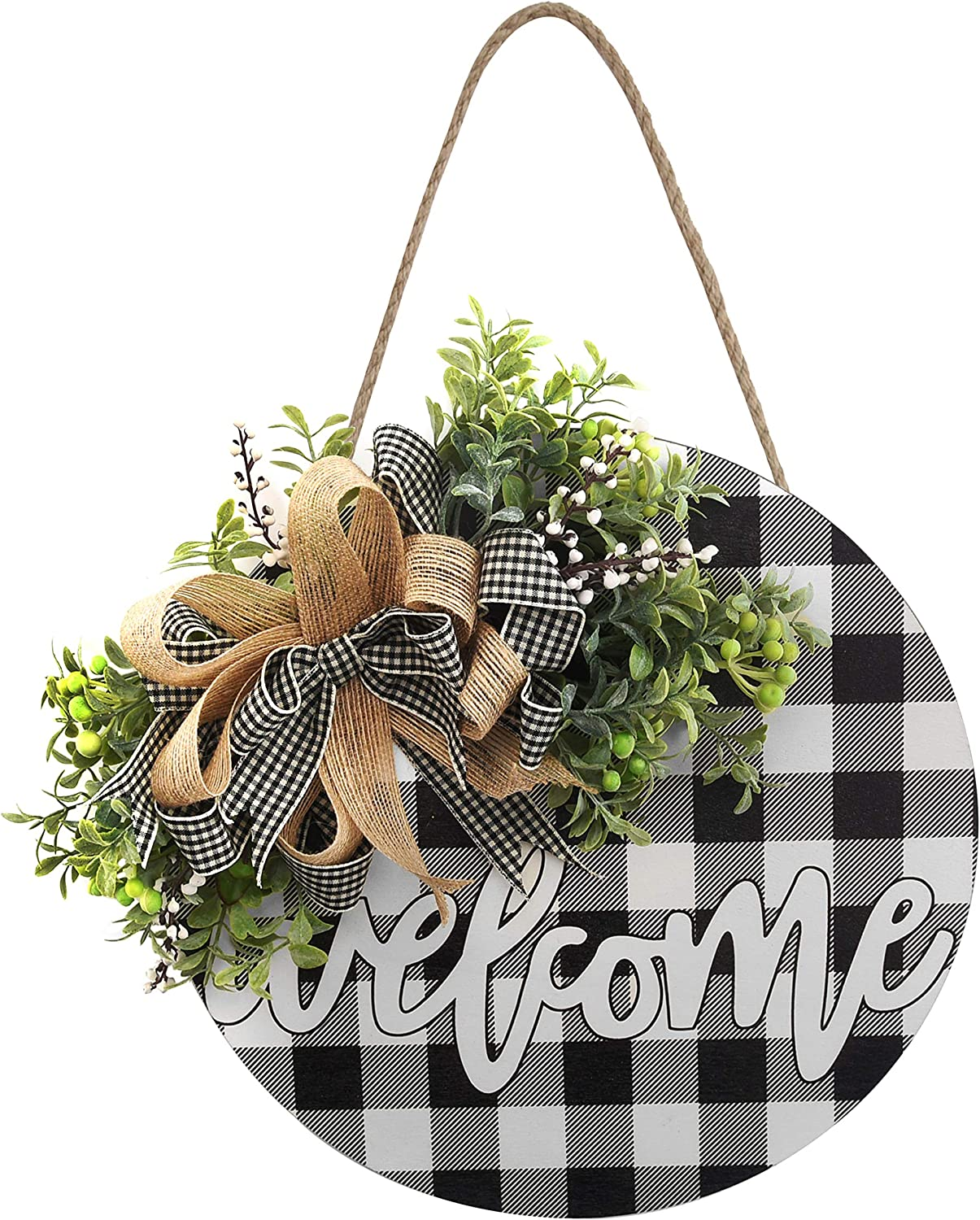 Christmas Welcome Sign Wooden Hanging Sign Buffalo Plaid Decor Front Porch Decorations for Christmas,Restaurant, Home, Outdoor with LED String Line (Welcome-Black)
