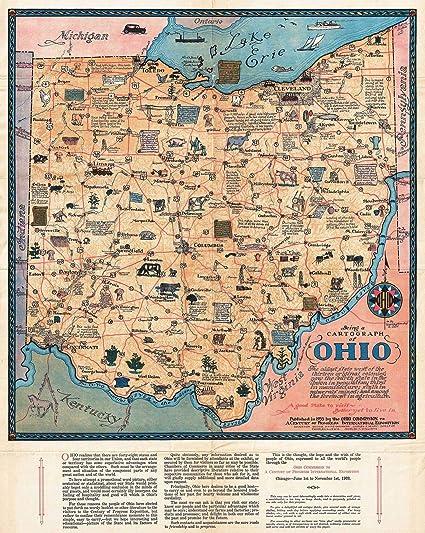 Antique Ohio Map.Amazon Com Historical 1933 Sewah Studios Pictorial Map Of Ohio The