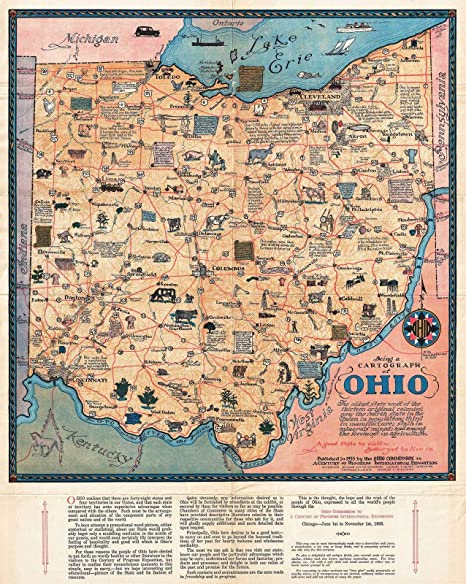 Amazon Com Historical 1933 Sewah Studios Pictorial Map Of Ohio The