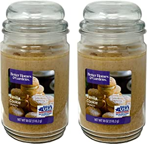 Better Homes Gardens 18oz Scented Candle, Vanilla Cookie Crunch 2-Pack