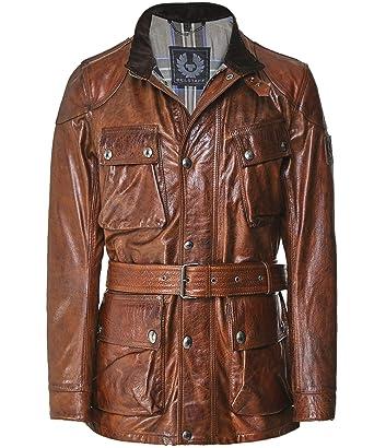 95ebcdc774 Belstaff Men's Waxed Leather Panther Jacket Cognac: Amazon.co.uk ...