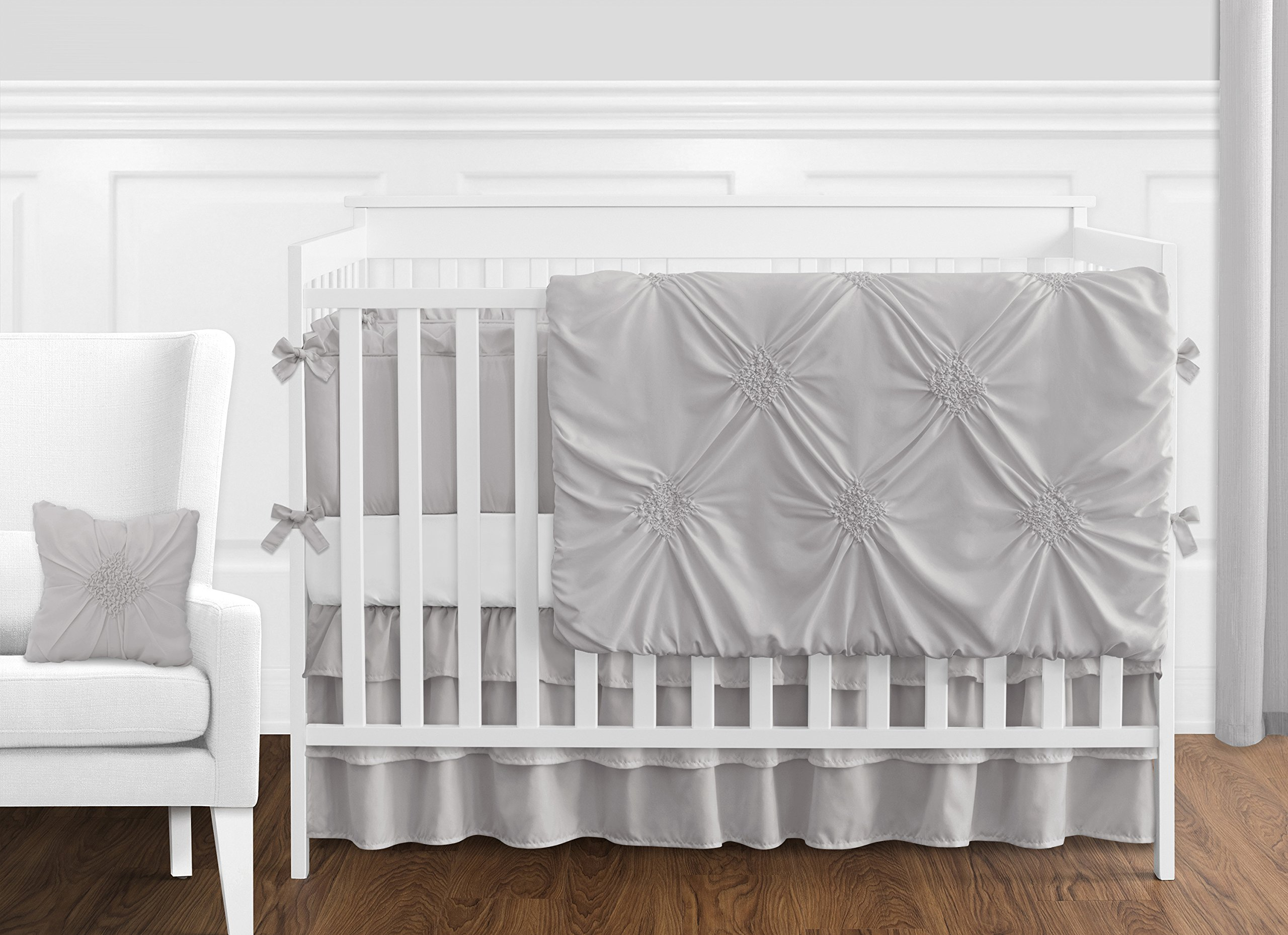 Solid Color Grey Shabby Chic Long Front Crib Rail Guard Baby Teething Cover Protector Wrap for Harper Collection by Sweet Jojo Designs by Sweet Jojo Designs (Image #2)