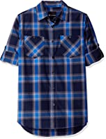 Akademiks Men's Short Sleeve Woven Plaid Button-Front Shirt