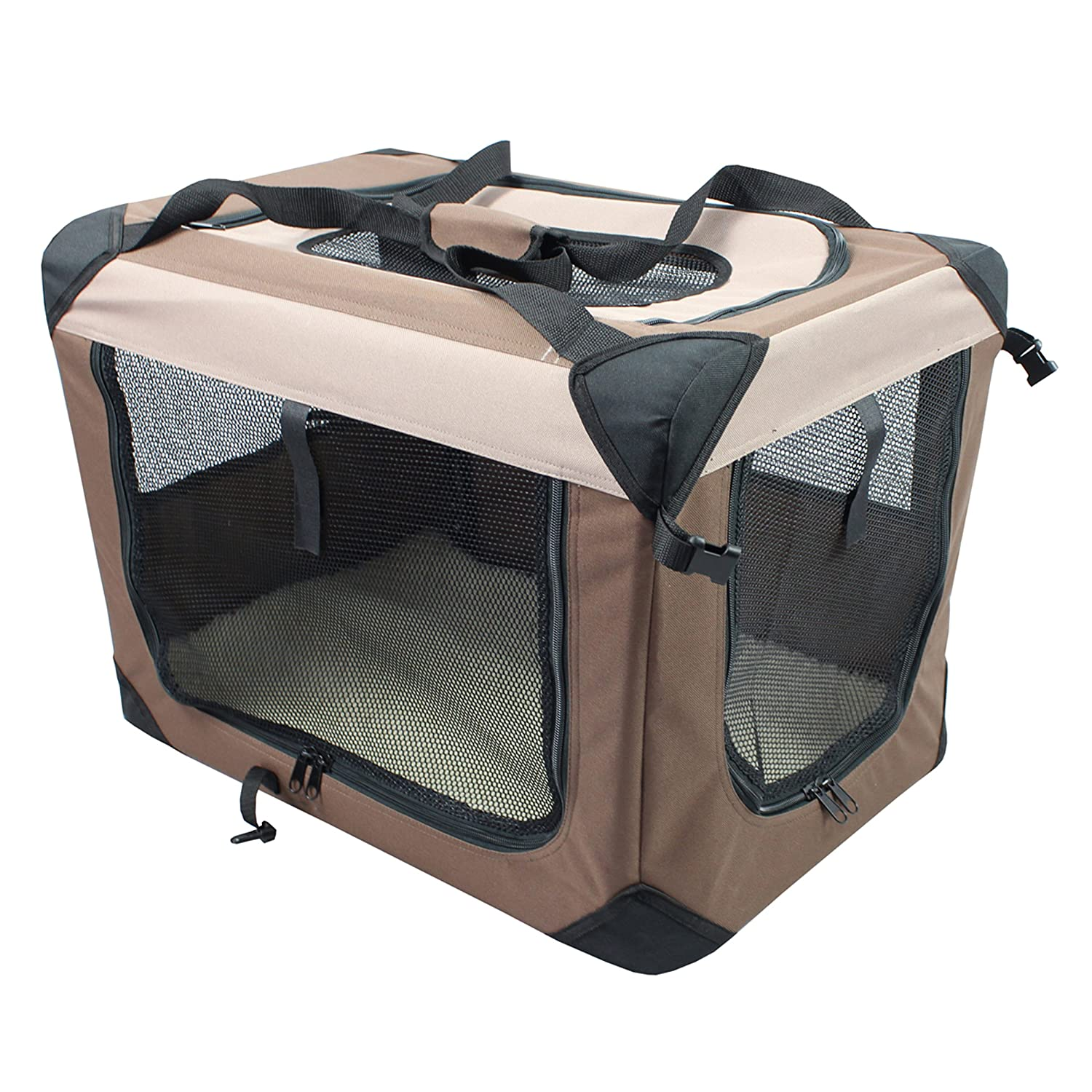 Iconic Pet Multipurpose Pet Soft Crate with Fleece Mat - Coffee/Khaki - Large 51593